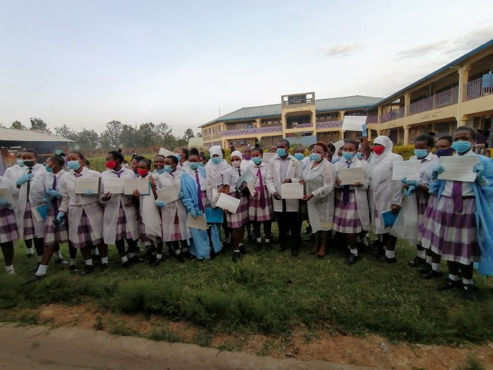 Group photo at St Loise Girls Secondary School
