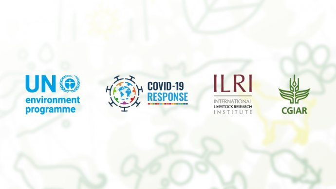 UN Environment Programme, Covid-19 response, ILRI and CGIAR logos