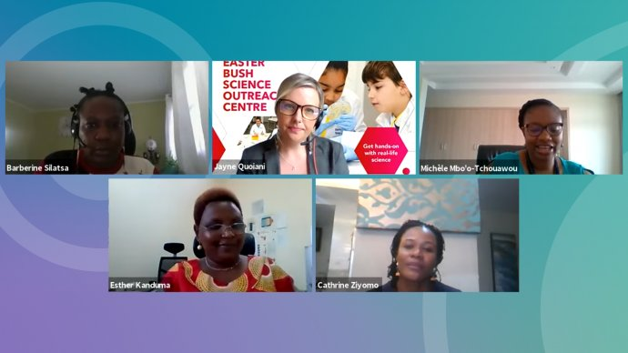 Five female panellists on a video call