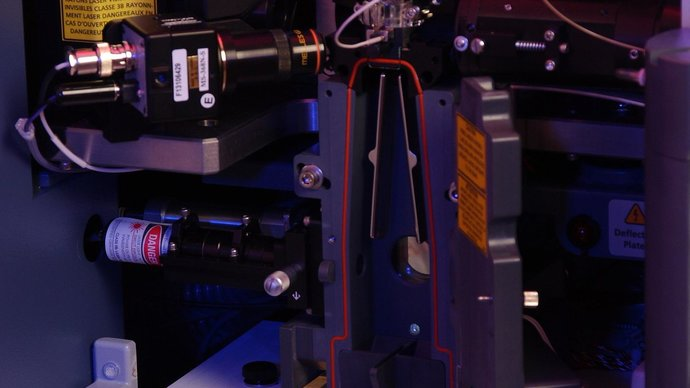 Close-up of a flow cytometer