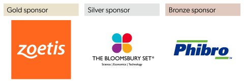Sponsors of the 2020 IVVN Conference: Zoetis (gold sponsor), The Bloomsbury Set (silver sponsor) and Phibro (bronze sponsor)
