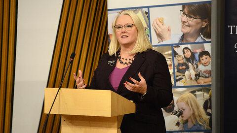 Photograph of Christina McKelvie speaking