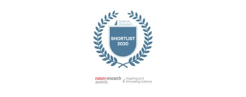 Badge: Science Outreach Shortlist 2020, Nature Research Awards, Inspiring and Innovating Science