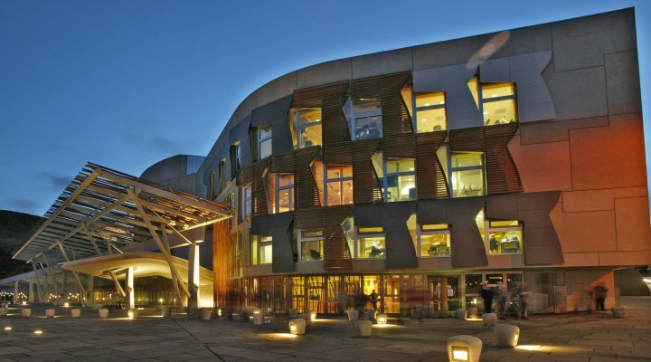 Image of the Scottish Parliament at night